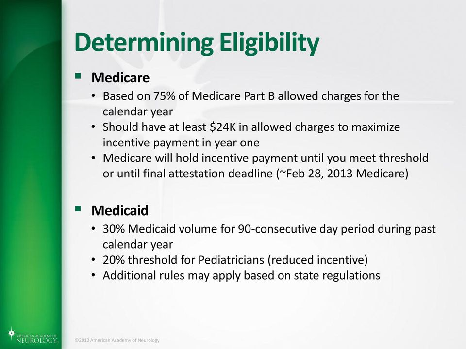 threshold or until final attestation deadline (~Feb 28, 2013 Medicare) Medicaid 30% Medicaid volume for 90-consecutive day