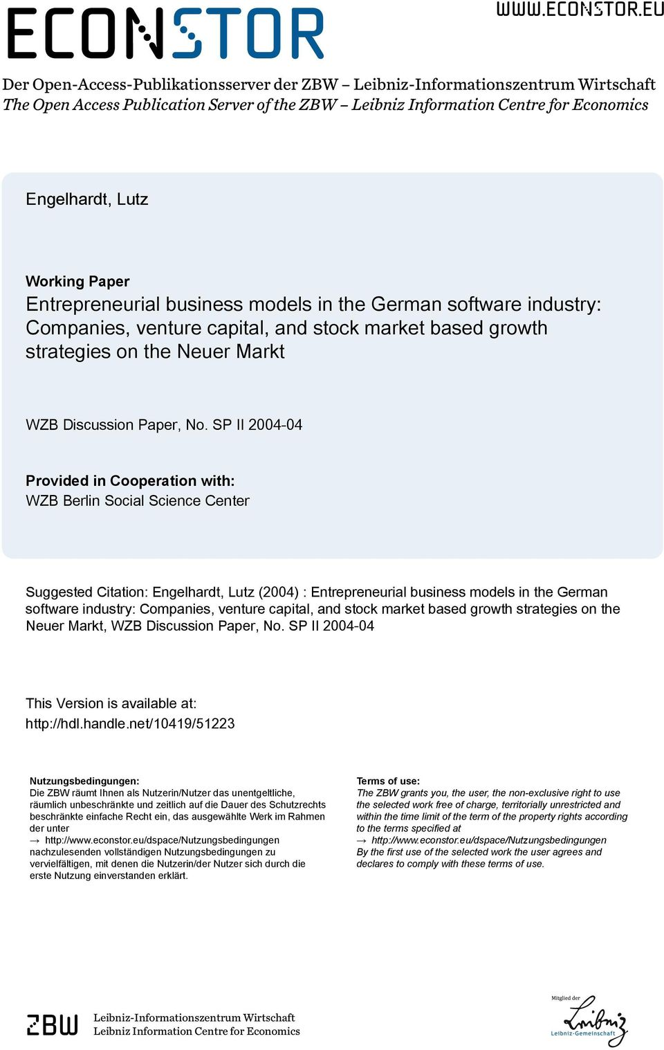 eu Der Open-Access-Publikationsserver der ZBW Leibniz-Informationszentrum Wirtschaft The Open Access Publication Server of the ZBW Leibniz Information Centre for Economics Engelhardt, Lutz Working