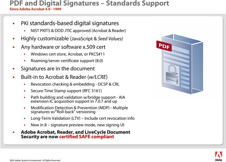 509 cert Windows cert store, Acrobat, or PKCS#11 Roaming/server certificate support (8.