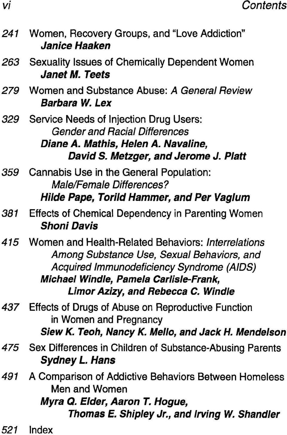 Platt 359 Cannabis Use in the General Population: Male/Female Differences?