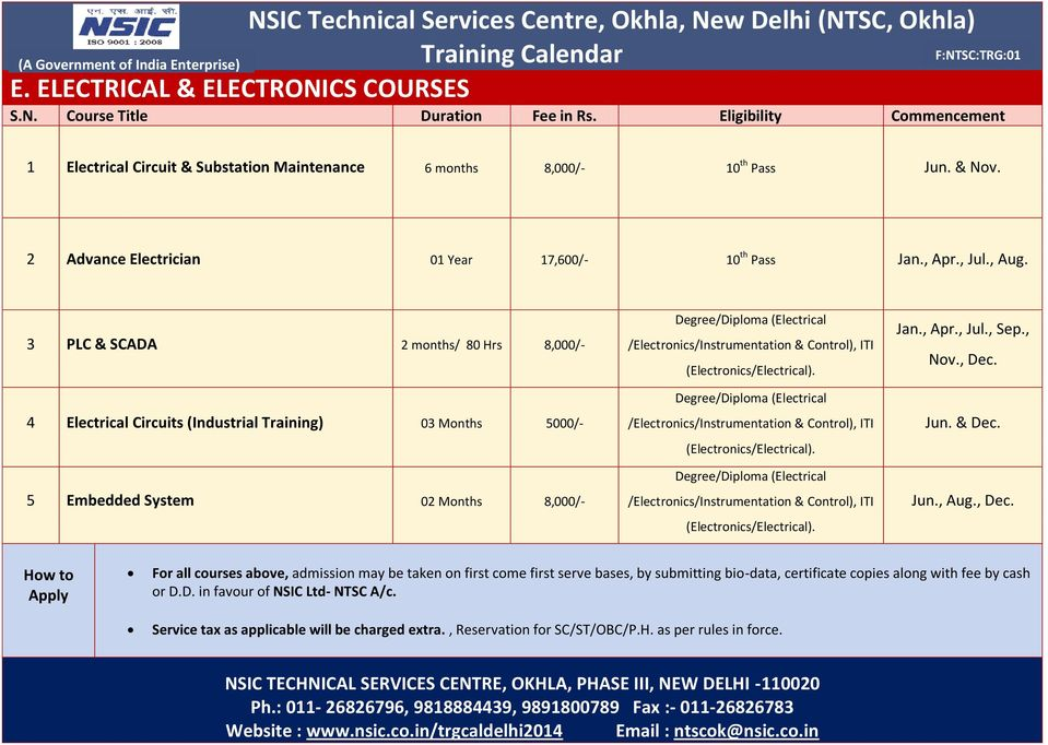 3 PLC & SCADA 2 months/ 80 Hrs 8,000/- 4 Electrical Circuits (Industrial Training) 03 Months 5000/- 5 Embedded System 02 Months 8,000/- Degree/Diploma (Electrical /Electronics/Instrumentation &