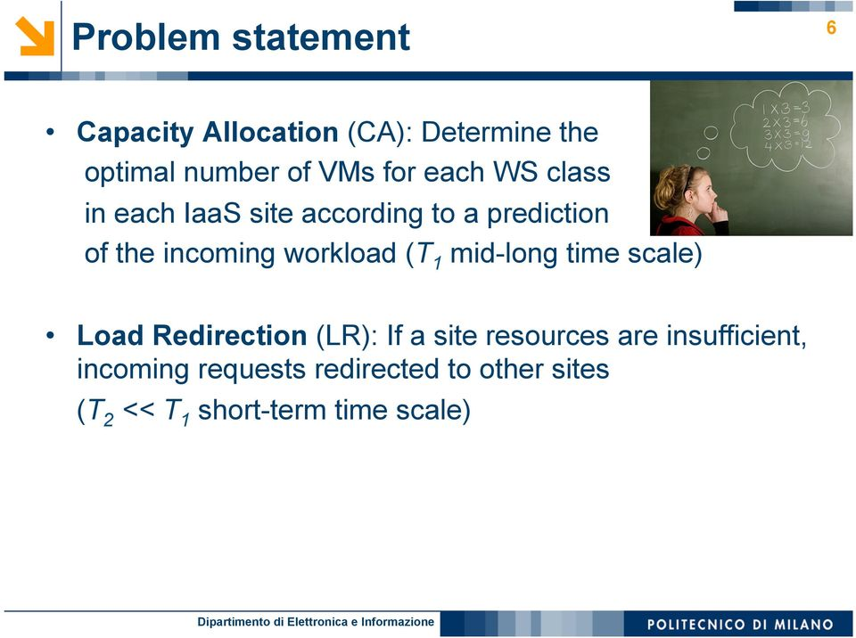 workload (T 1 mid-long time scale) Load Redirection (LR): If a site resources are