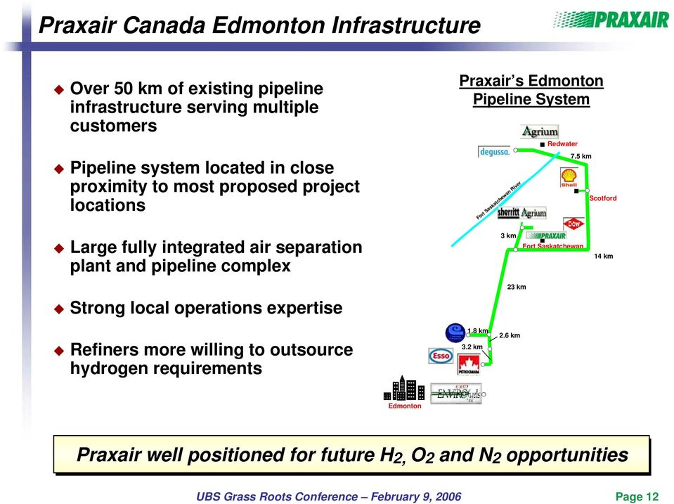 5 km Scotford Large fully integrated air separation plant and pipeline complex 3 km Fort Saskatchewan 14 km Strong local operations expertise