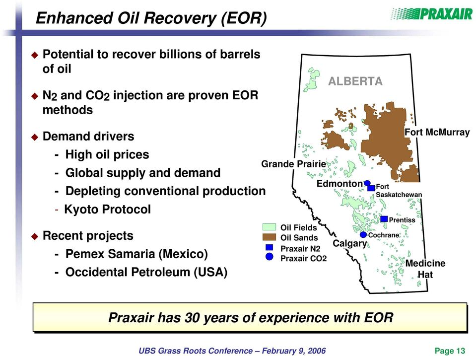 Recent projects - Pemex Samaria (Mexico) - Occidental Petroleum (USA) Grande Prairie Oil Fields Oil Sands Praxair N2 Praxair