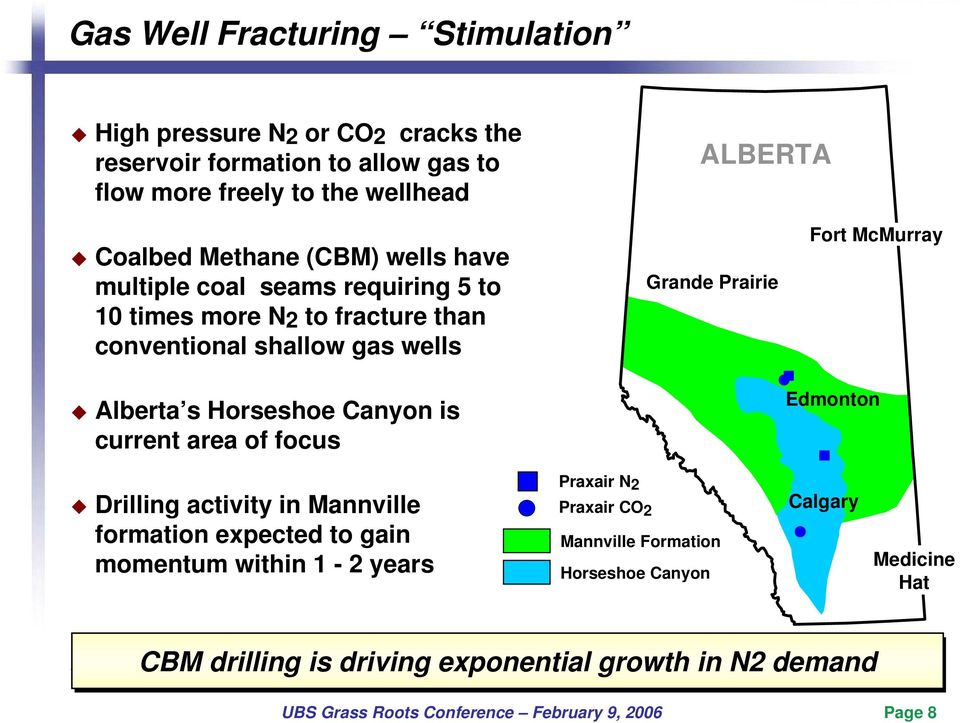 Alberta s Horseshoe Canyon is current area of focus Edmonton Drilling activity in Mannville formation expected to gain momentum within 1-2 years Praxair