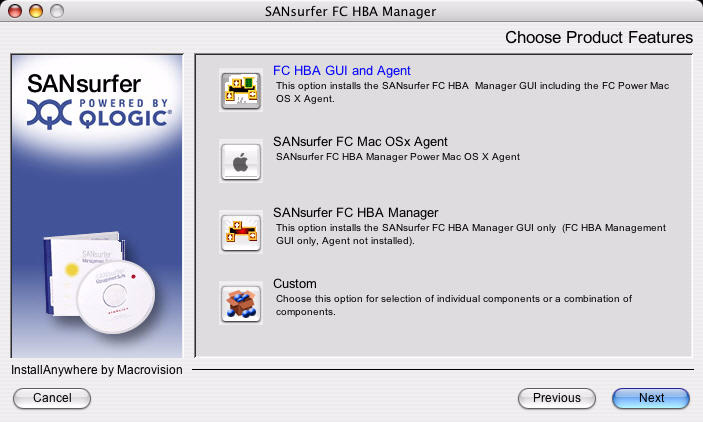 A 5 Installing ANsurfer FC HBA Manager Initial Installation Figure 5-5 Macintosh Installation: Choose Product Features