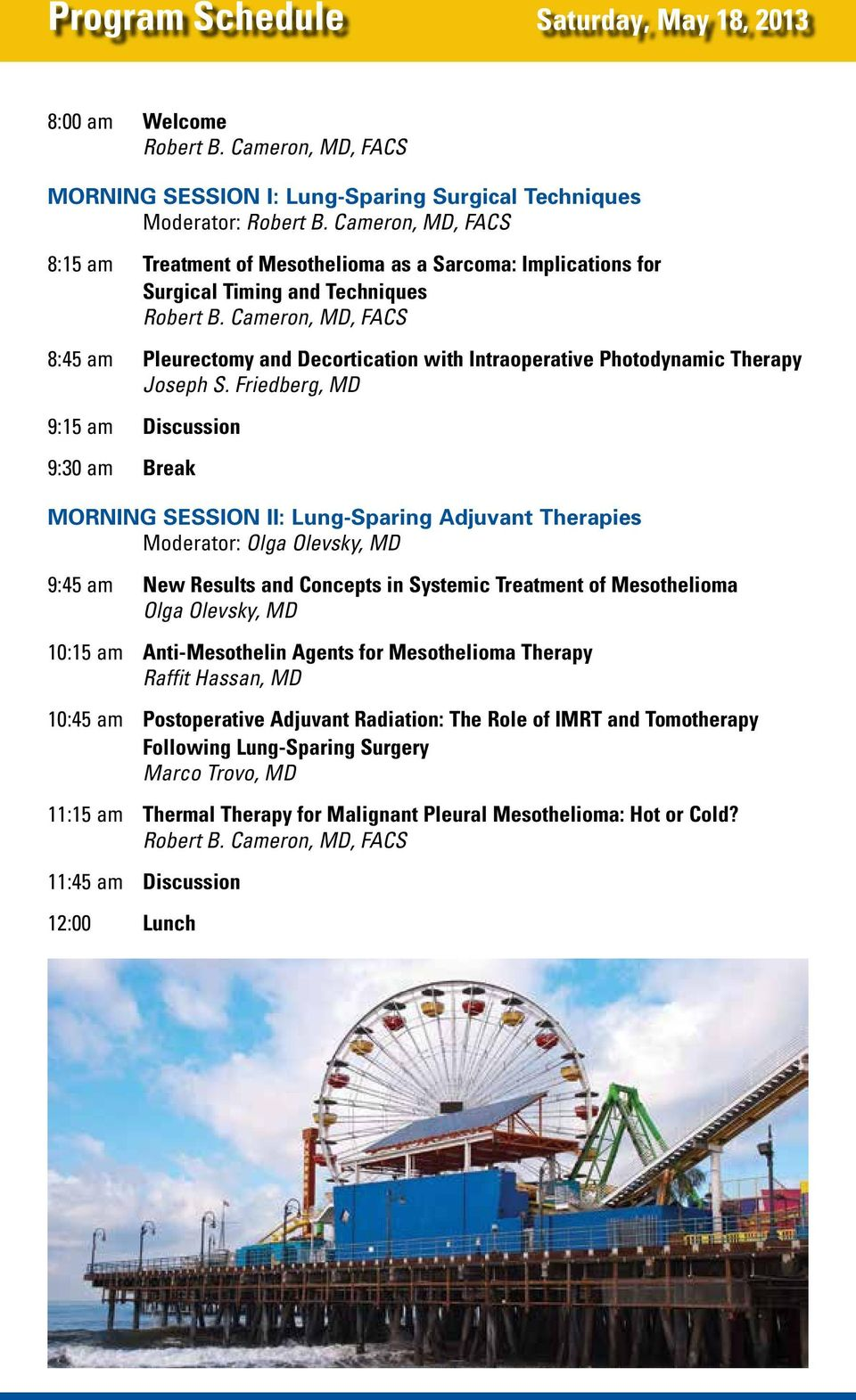 Friedberg, MD 9:15 am Discussion 9:30 am Break Morning Session II: Lung-Sparing Adjuvant Therapies Moderator: Olga Olevsky, MD 9:45 am New Results and Concepts in Systemic Treatment of Mesothelioma