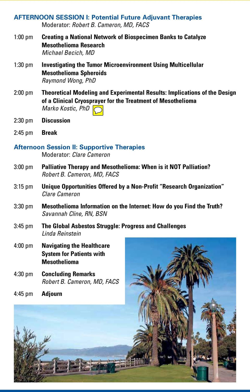 the Treatment of Mesothelioma Marko Kostic, PhD 2:30 pm Discussion 2:45 pm Break Afternoon Session II: Supportive Therapies Moderator: Clare Cameron 3:00 pm Palliative Therapy and Mesothelioma: When