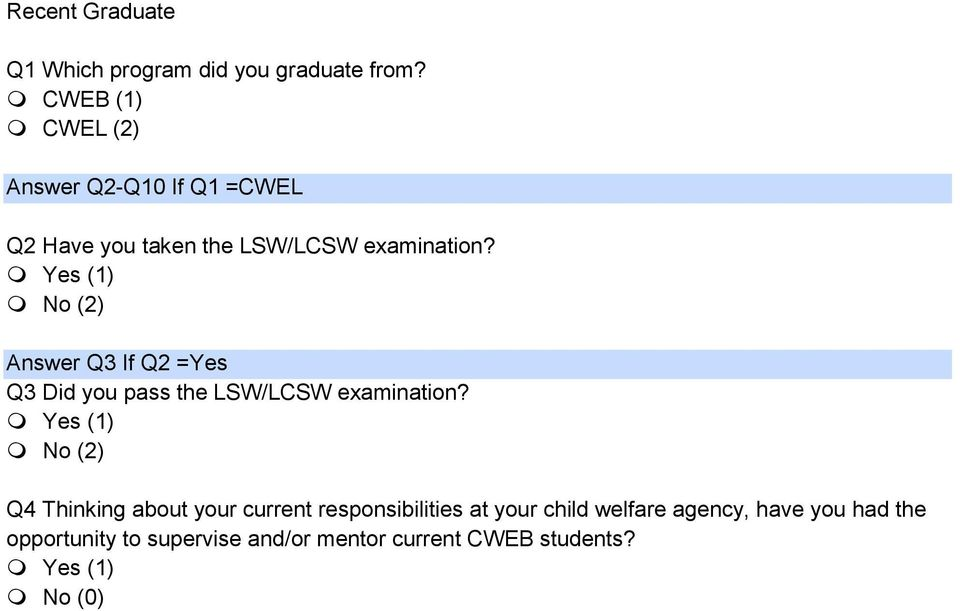 Yes (1) No (2) Answer Q3 If Q2 =Yes Q3 Did you pass the LSW/LCSW examination?