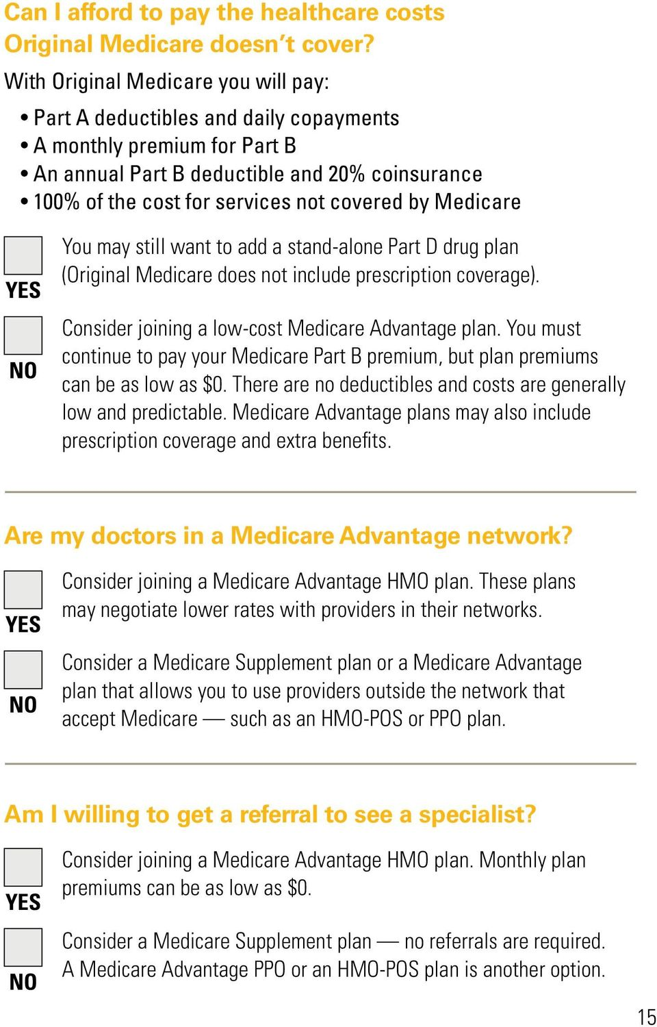 Medicare YES NO You may still want to add a stand-alone Part D drug plan (Original Medicare does not include prescription coverage). Consider joining a low-cost Medicare Advantage plan.