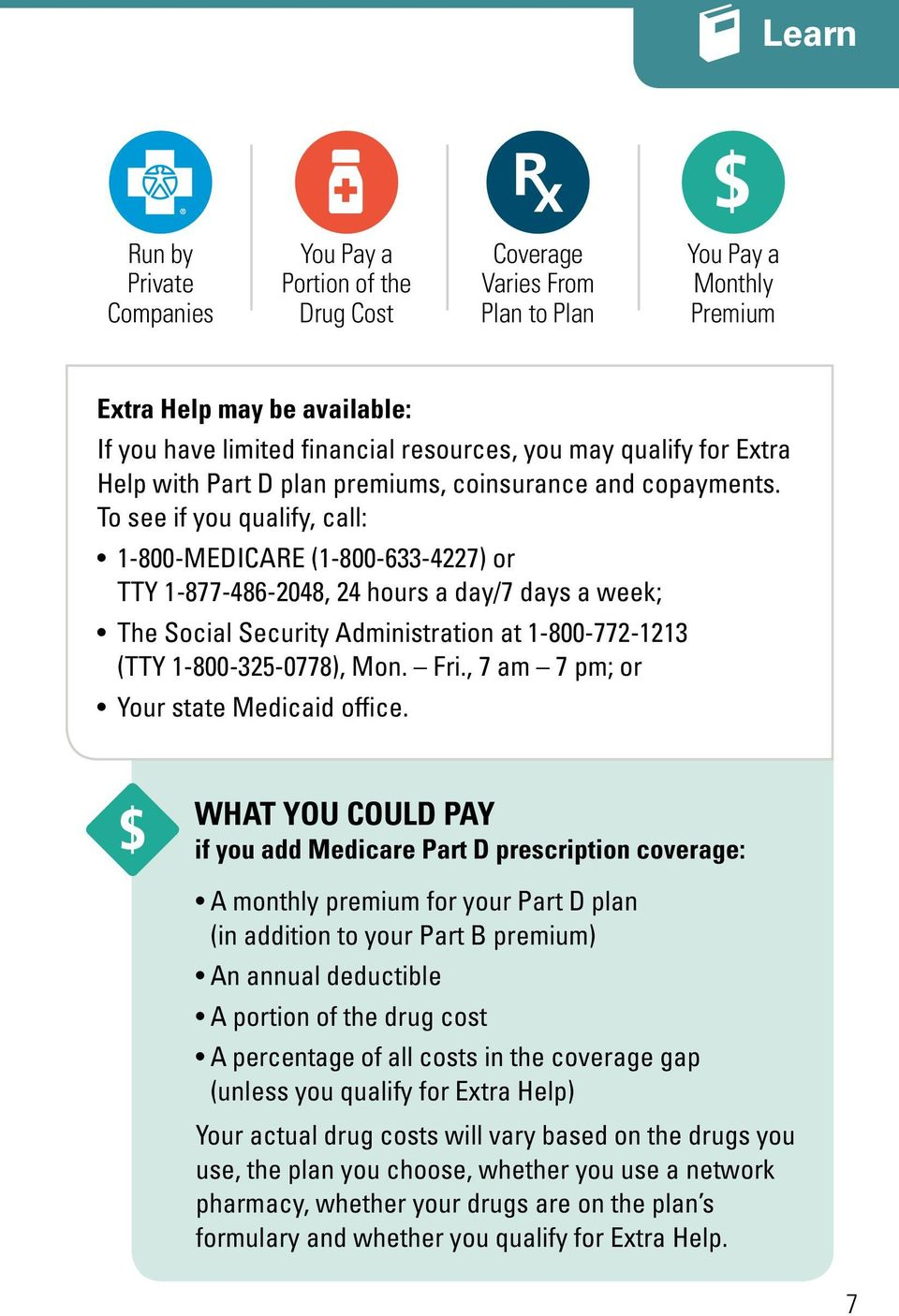 To see if you qualify, call: 1-800-MEDICARE (1-800-633-4227) or TTY 1-877-486-2048, 24 hours a day/7 days a week; The Social Security Administration at 1-800-772-1213 (TTY 1-800-325-0778), Mon. Fri.