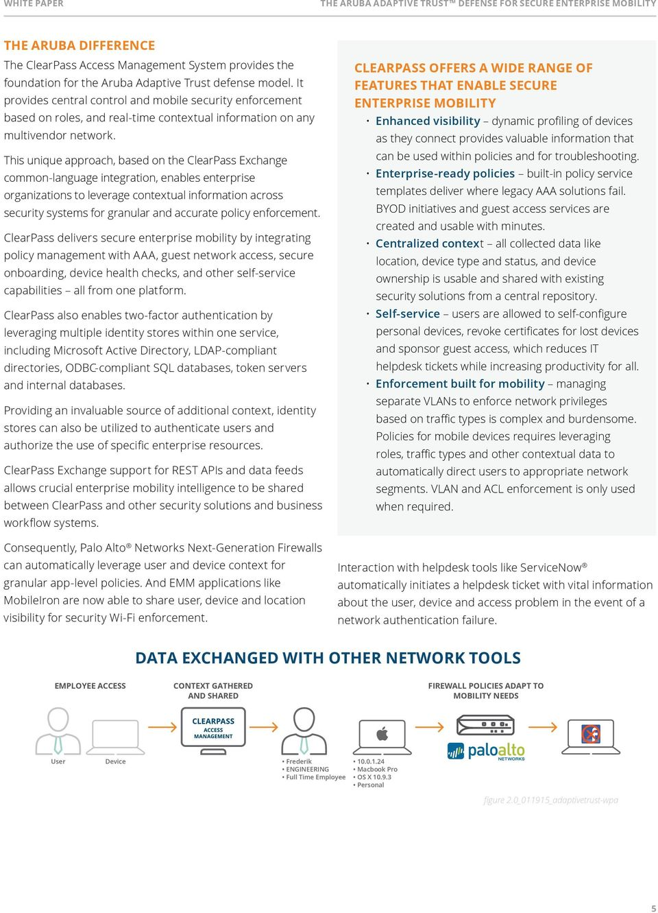This unique approach, based on the ClearPass Exchange common-language integration, enables enterprise organizations to leverage contextual information across security systems for granular and