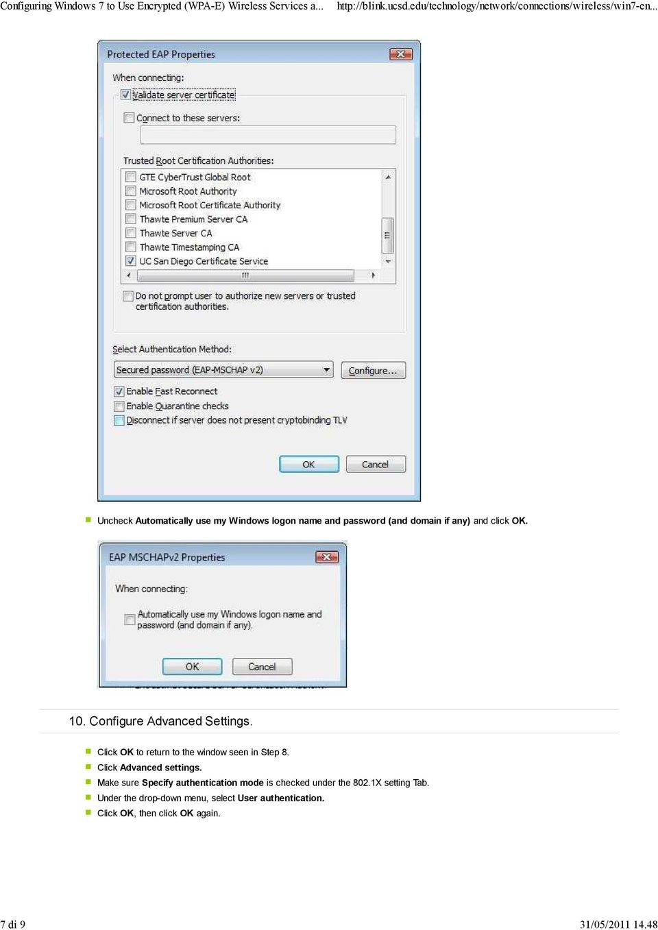 10. Configure Advanced Settings. Click OK to return to the window seen in Step 8.