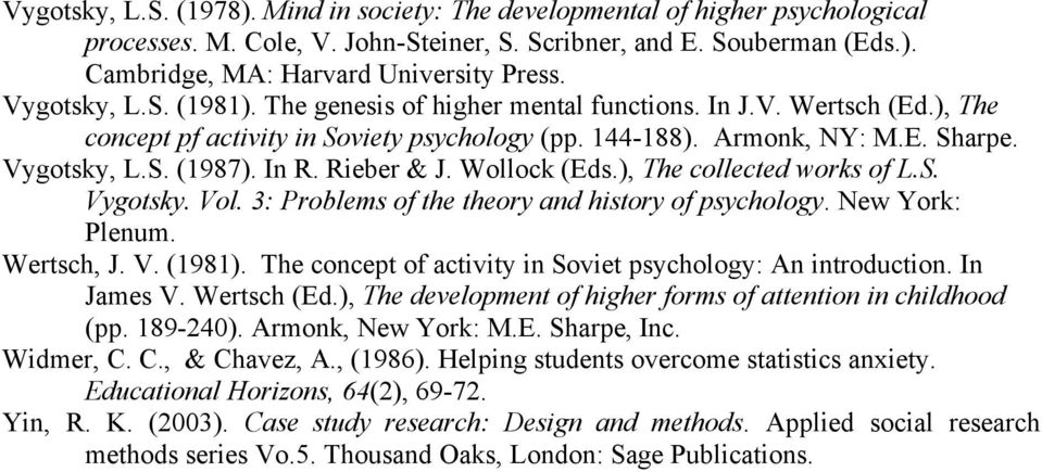 Rieber & J. Wollock (Eds.), The collected works of L.S. Vygotsky. Vol. 3: Problems of the theory and history of psychology. New York: Plenum. Wertsch, J. V. (1981).