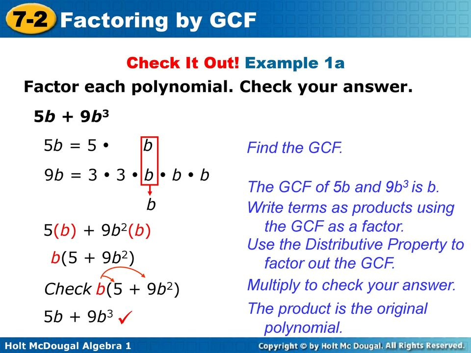 Find the GCF. The GCF of 5b and 9b 3 is b. Write terms as products using the GCF as a factor.