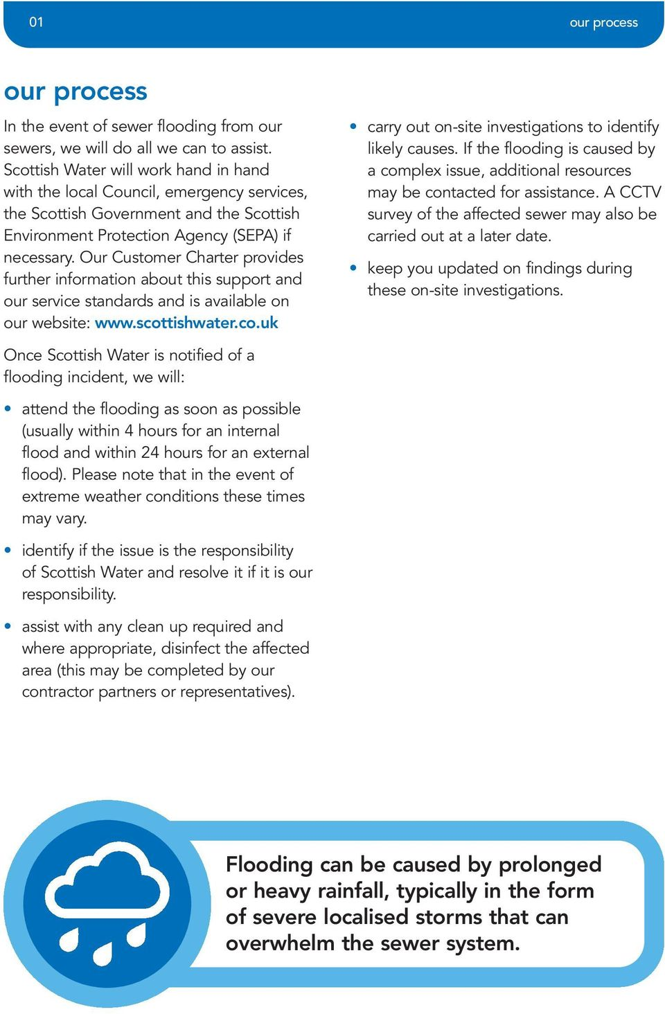 Our Customer Charter provides further information about this support and our service standards and is available on our website: www.scottishwater.co.uk carry out on-site investigations to identify likely causes.
