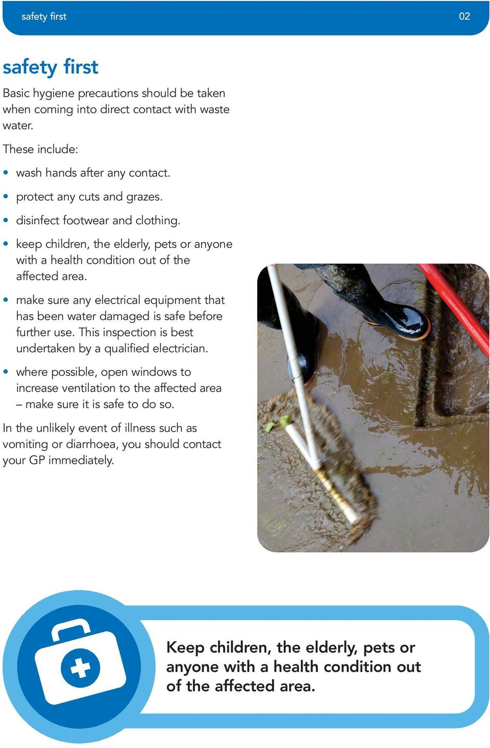 make sure any electrical equipment that has been water damaged is safe before further use. This inspection is best undertaken by a qualified electrician.