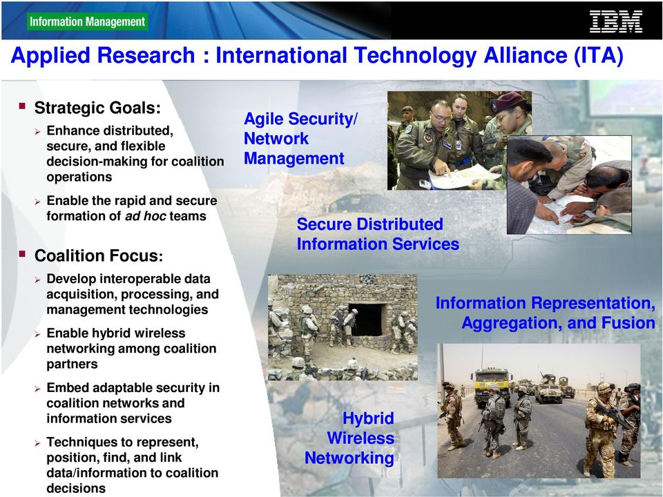 among coalition partners Embed adaptable security in coalition networks and information services Techniques to represent, position, find, and link data/information to