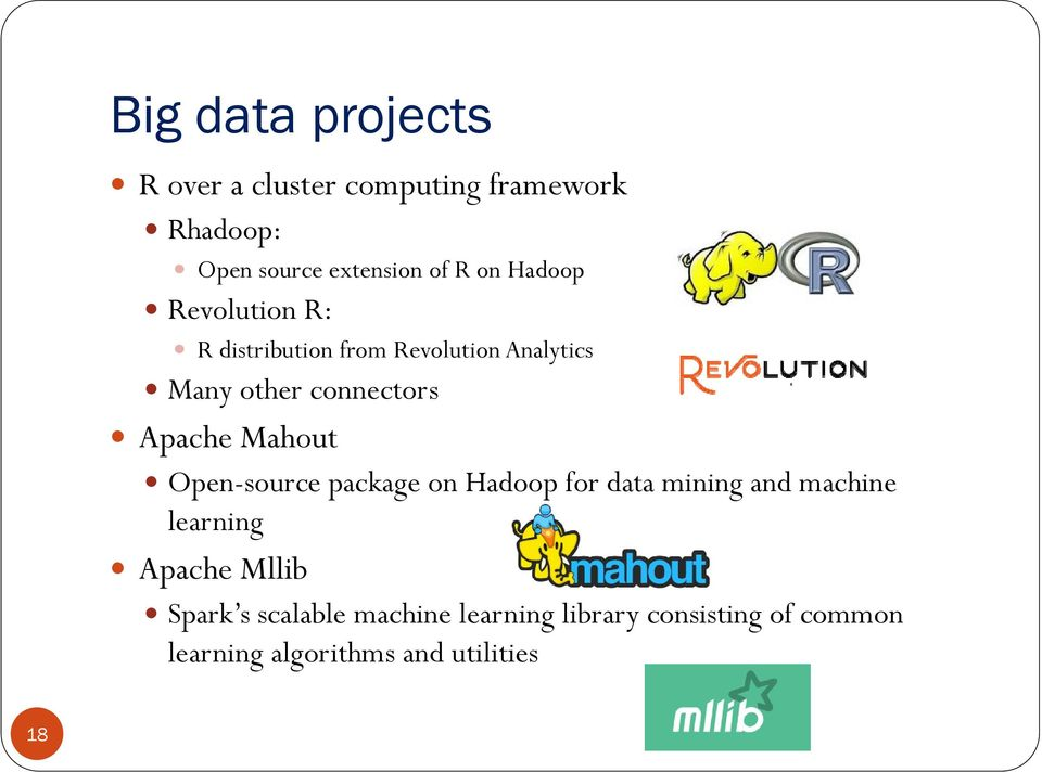 Apache Mahout Open-source package on Hadoop for data mining and machine learning Apache