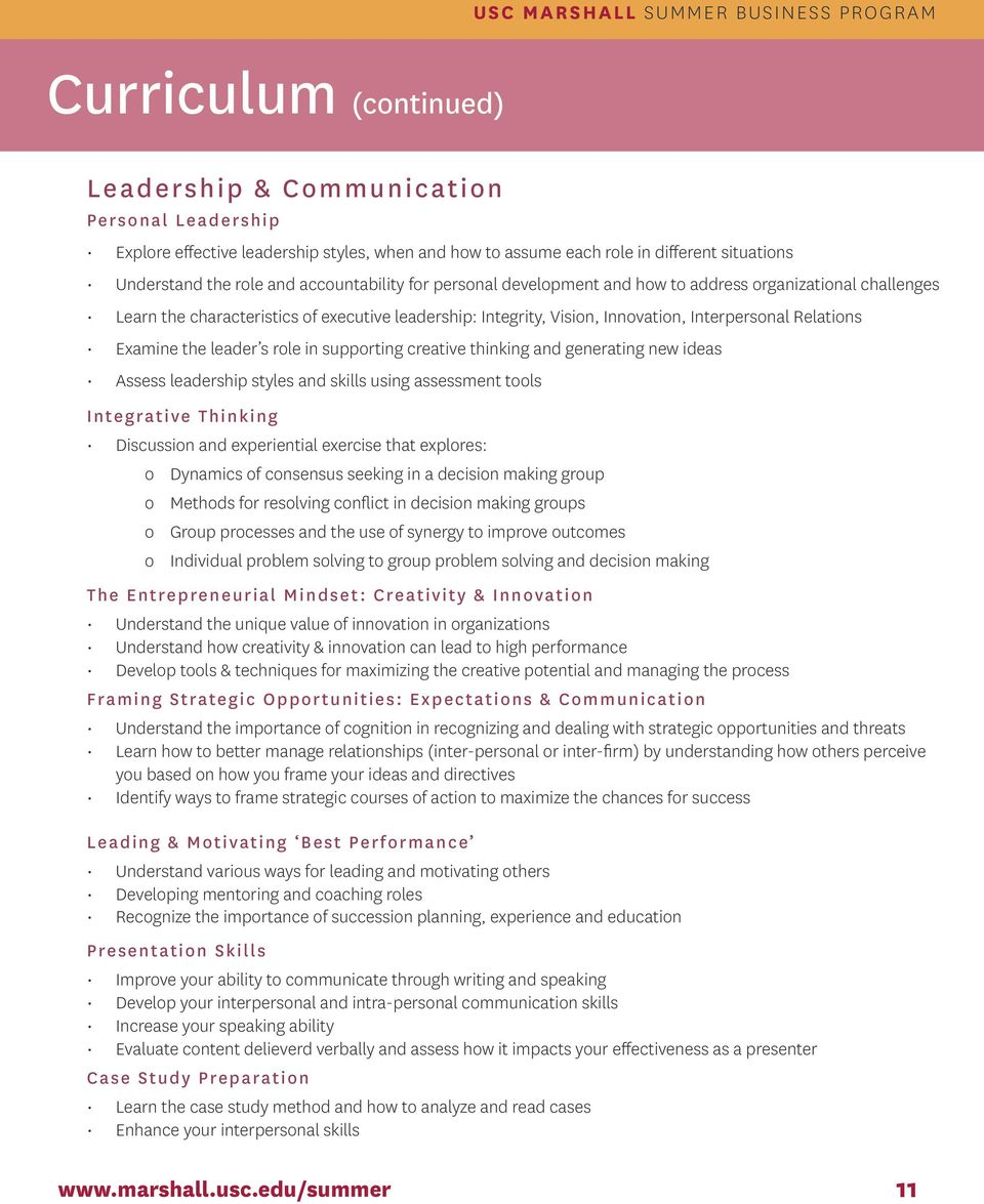 the leader s role in supporting creative thinking and generating new ideas Assess leadership styles and skills using assessment tools Integrative Thinking Discussion and experiential exercise that