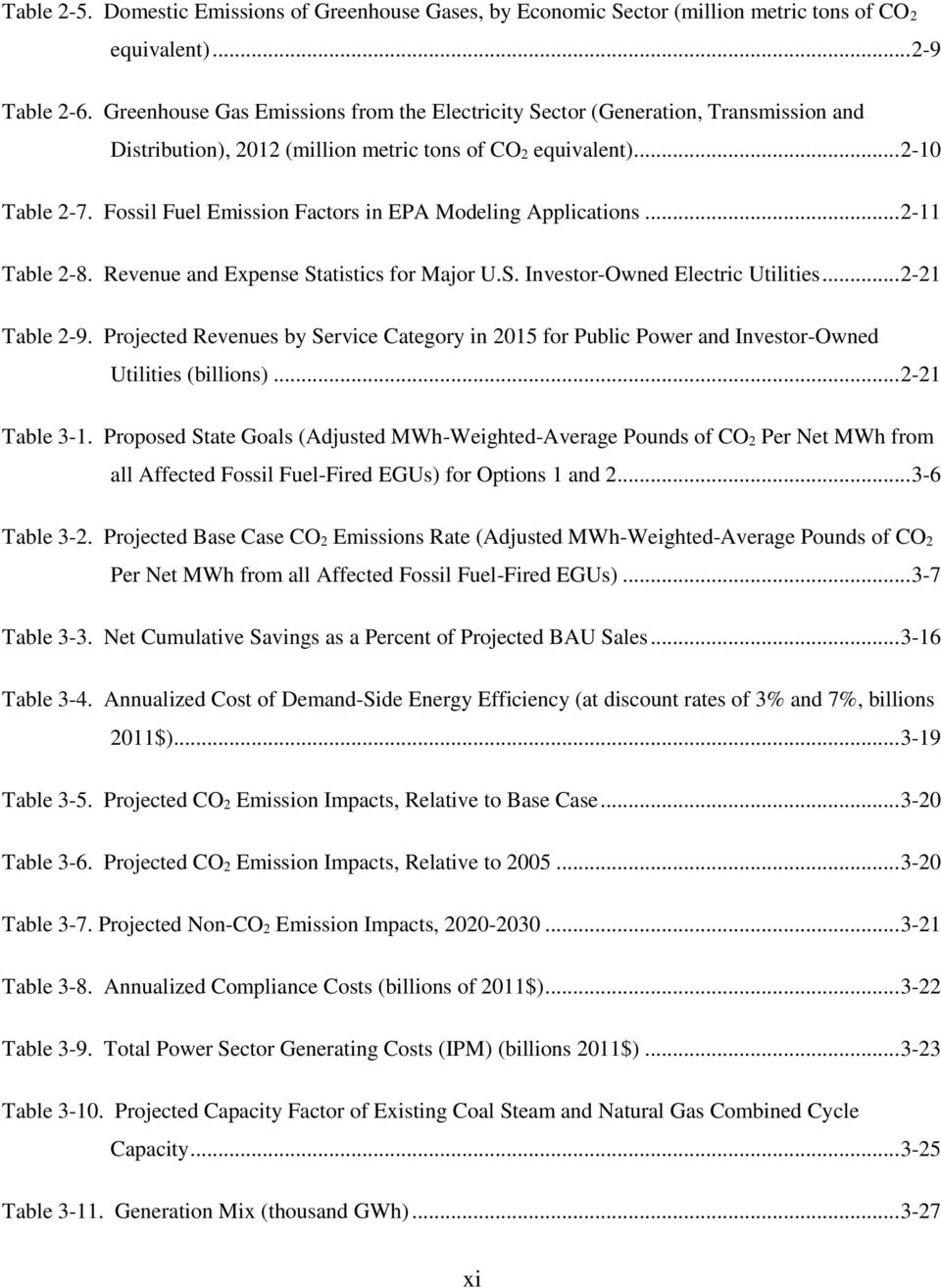 Fossil Fuel Emission Factors in EPA Modeling Applications... 2-11 Table 2-8. Revenue and Expense Statistics for Major U.S. Investor-Owned Electric Utilities... 2-21 Table 2-9.