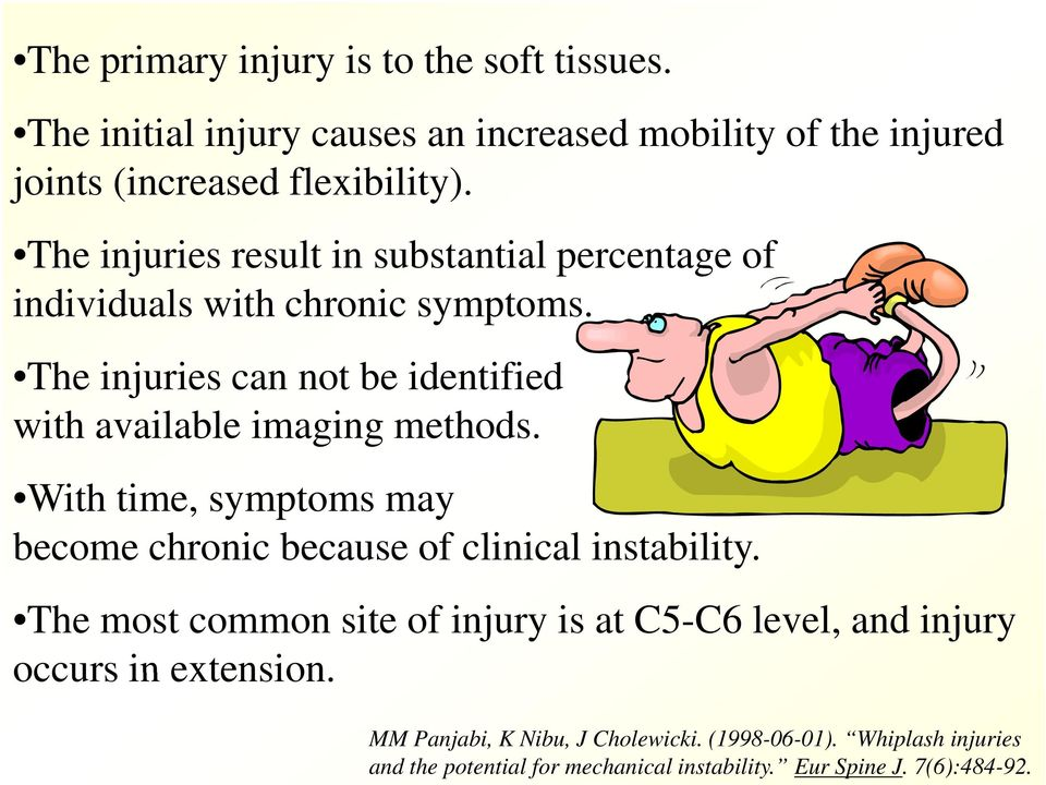 The injuries can not be identified with available imaging methods. With time, symptoms may become chronic because of clinical instability.