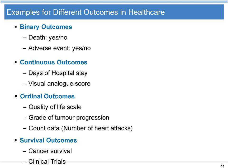 analogue score Ordinal Outcomes Quality of life scale Grade of tumour