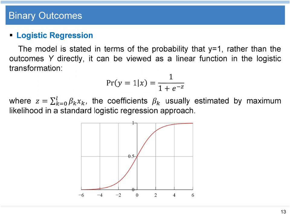 linear function in the logistic transformation: Pr + where, the coefficients