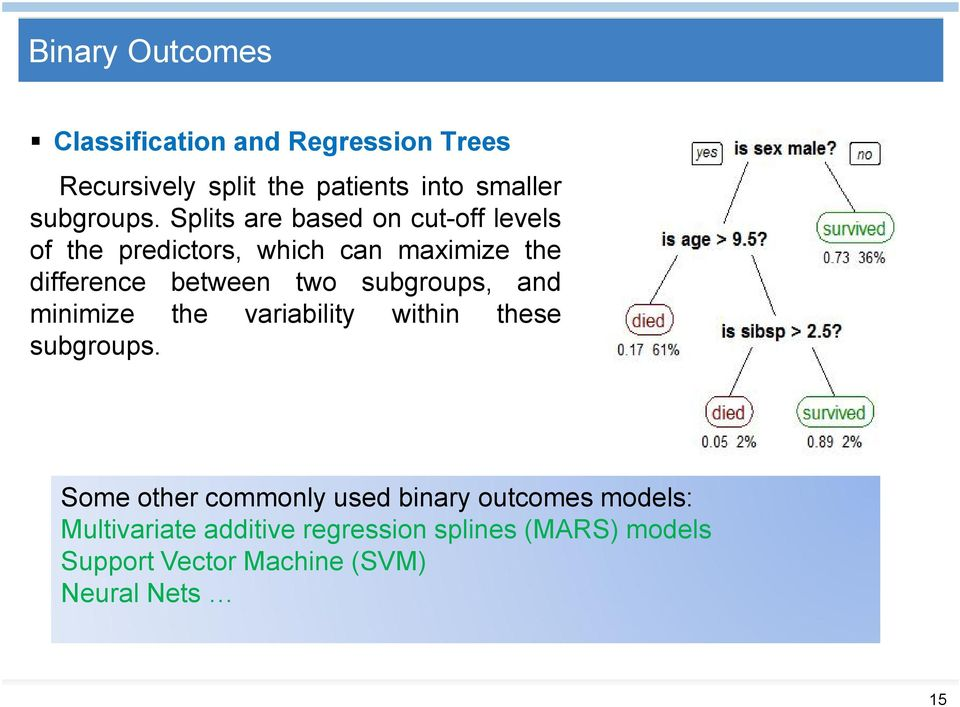 Splits are based on cut-off levels of the predictors, which can maximize the difference between two