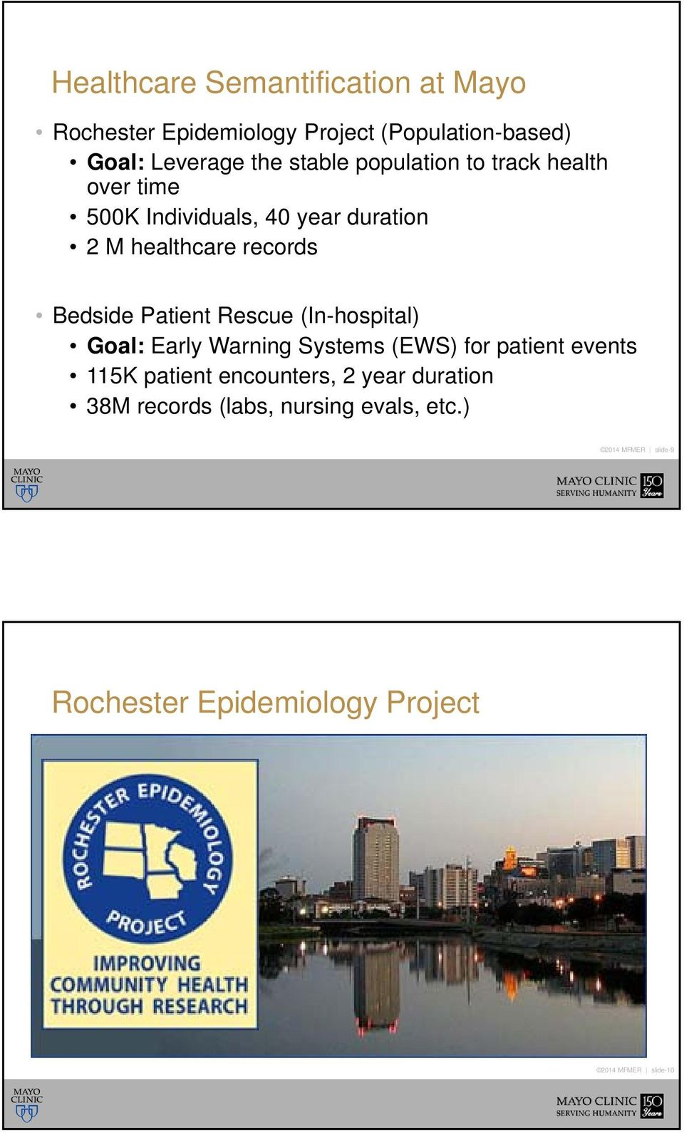 Rescue (In-hospital) Goal: Early Warning Systems (EWS) for patient events 115K patient encounters, 2 year