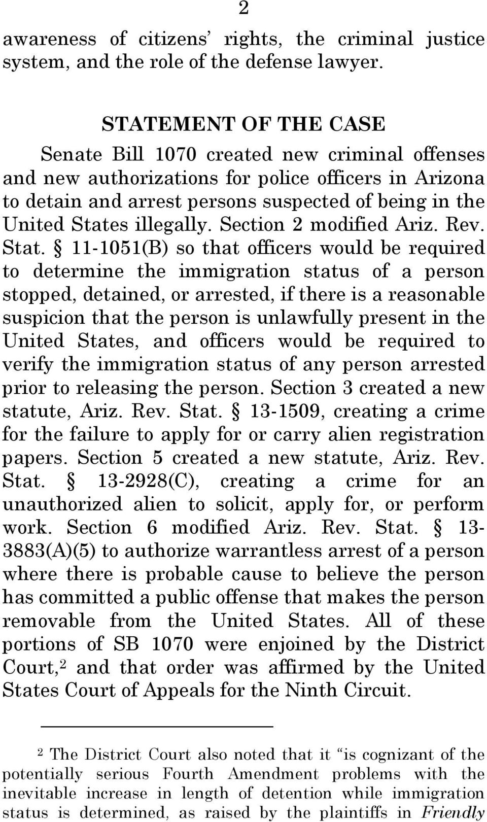 illegally. Section 2 modified Ariz. Rev. Stat.