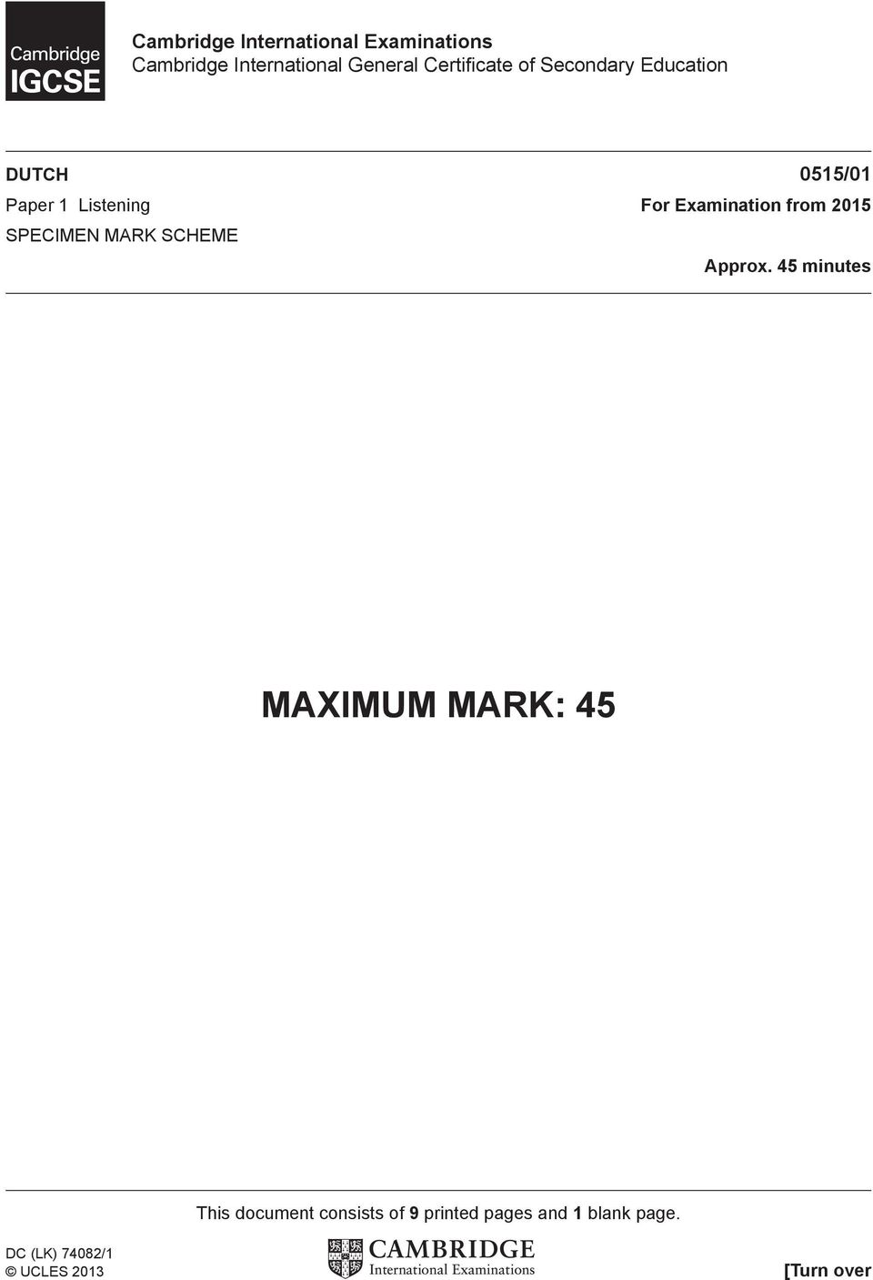 Examination from 2015 SPECIMEN MARK SCHEME Approx.