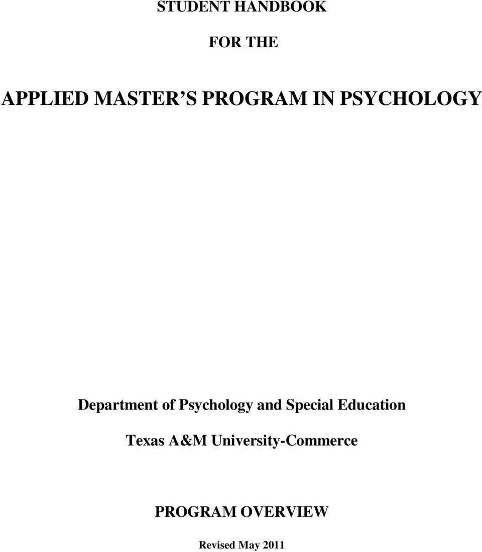 Psychology and Special Education Texas A&M
