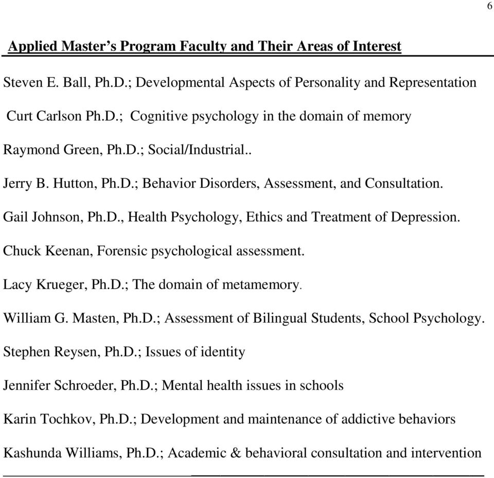 Chuck Keenan, Forensic psychological assessment. Lacy Krueger, Ph.D.; The domain of metamemory. William G. Masten, Ph.D.; Assessment of Bilingual Students, School Psychology. Stephen Reysen, Ph.D.; Issues of identity Jennifer Schroeder, Ph.