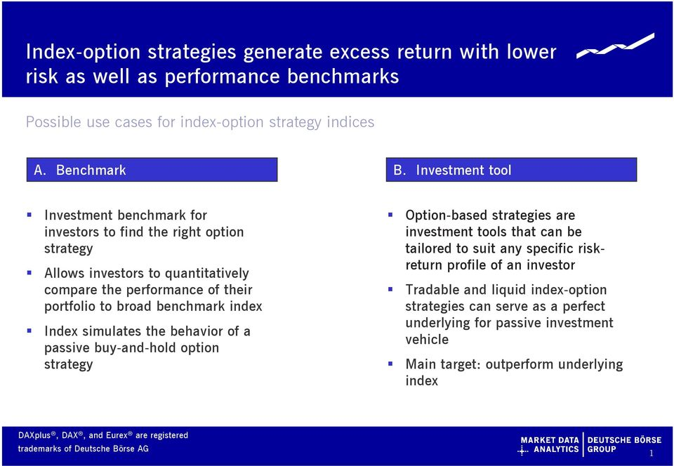 benchmark index Index simulates the behavior of a passive buy-and-hold option strategy Option-based strategies are investment tools that can be tailored to suit any specific