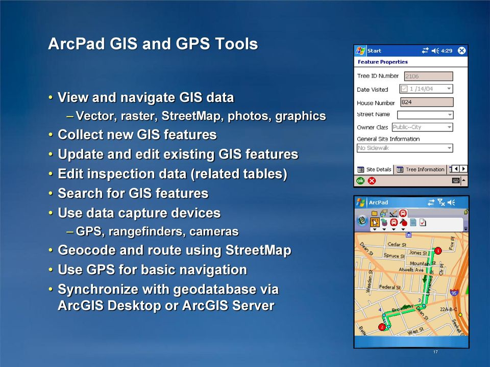 Search for GIS features Use data capture devices GPS, rangefinders, cameras Geocode and route using