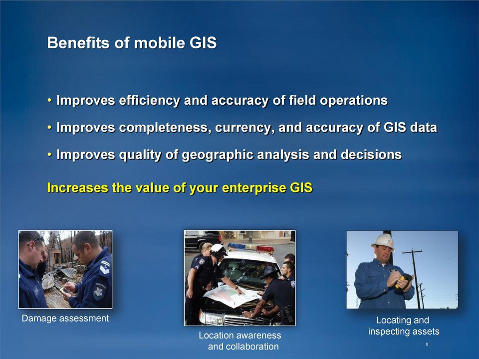 geographic analysis and decisions Increases the value of your enterprise GIS