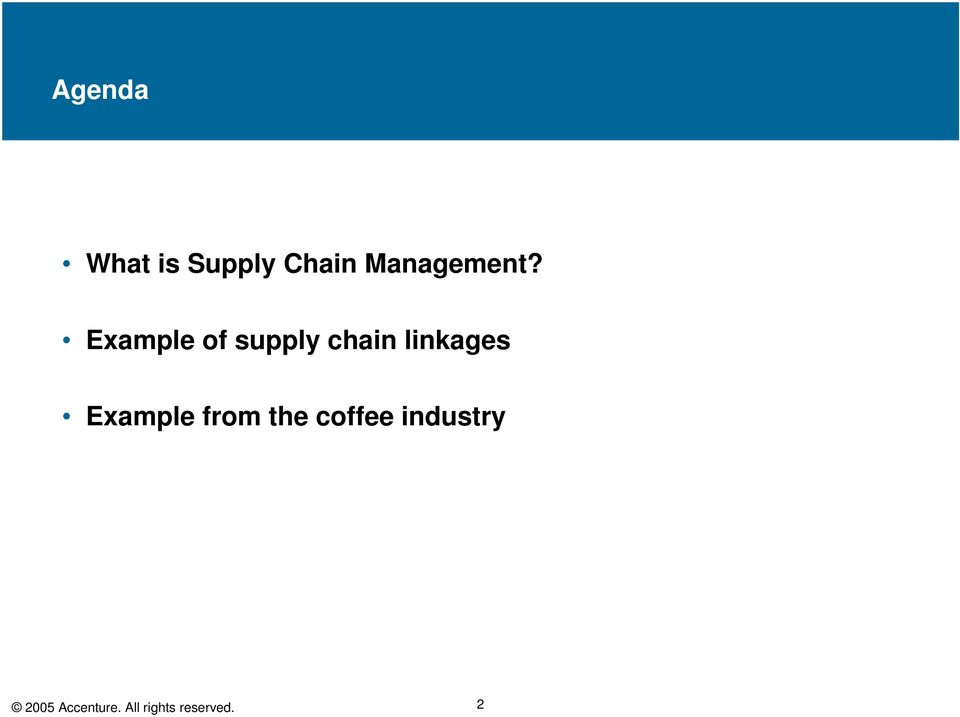 Example of supply chain linkages