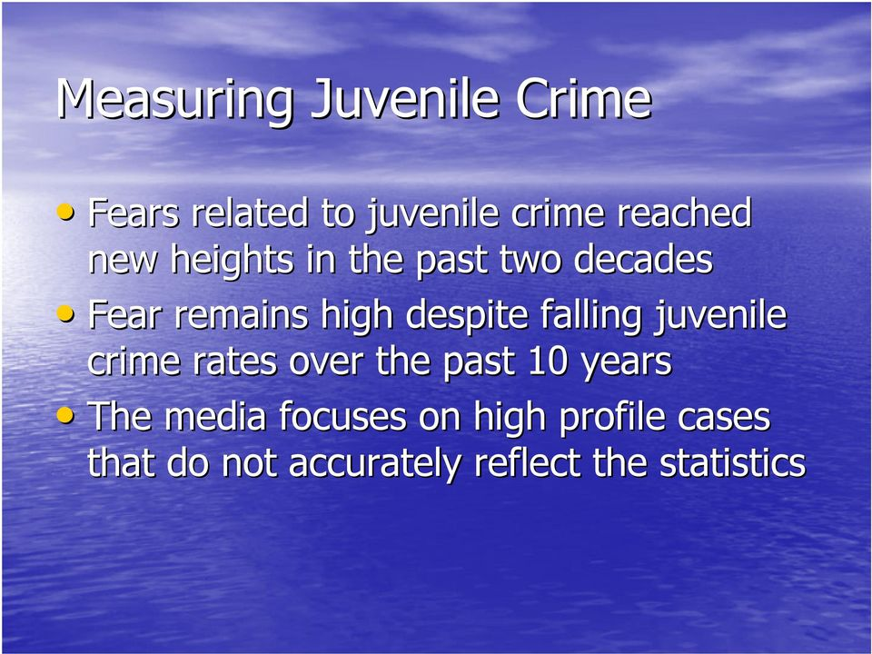 falling juvenile crime rates over the past 10 years The media