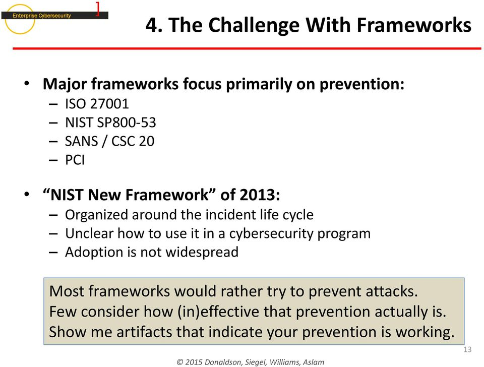 cybersecurity program Adoption is not widespread Most frameworks would rather try to prevent attacks.