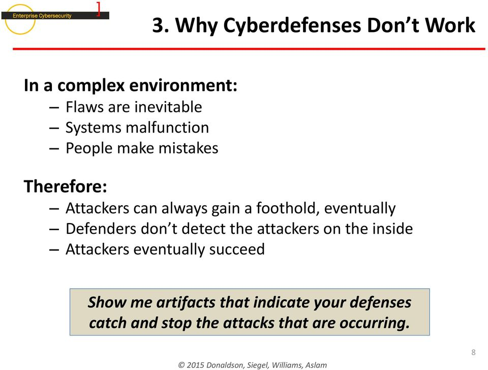 eventually Defenders don t detect the attackers on the inside Attackers eventually