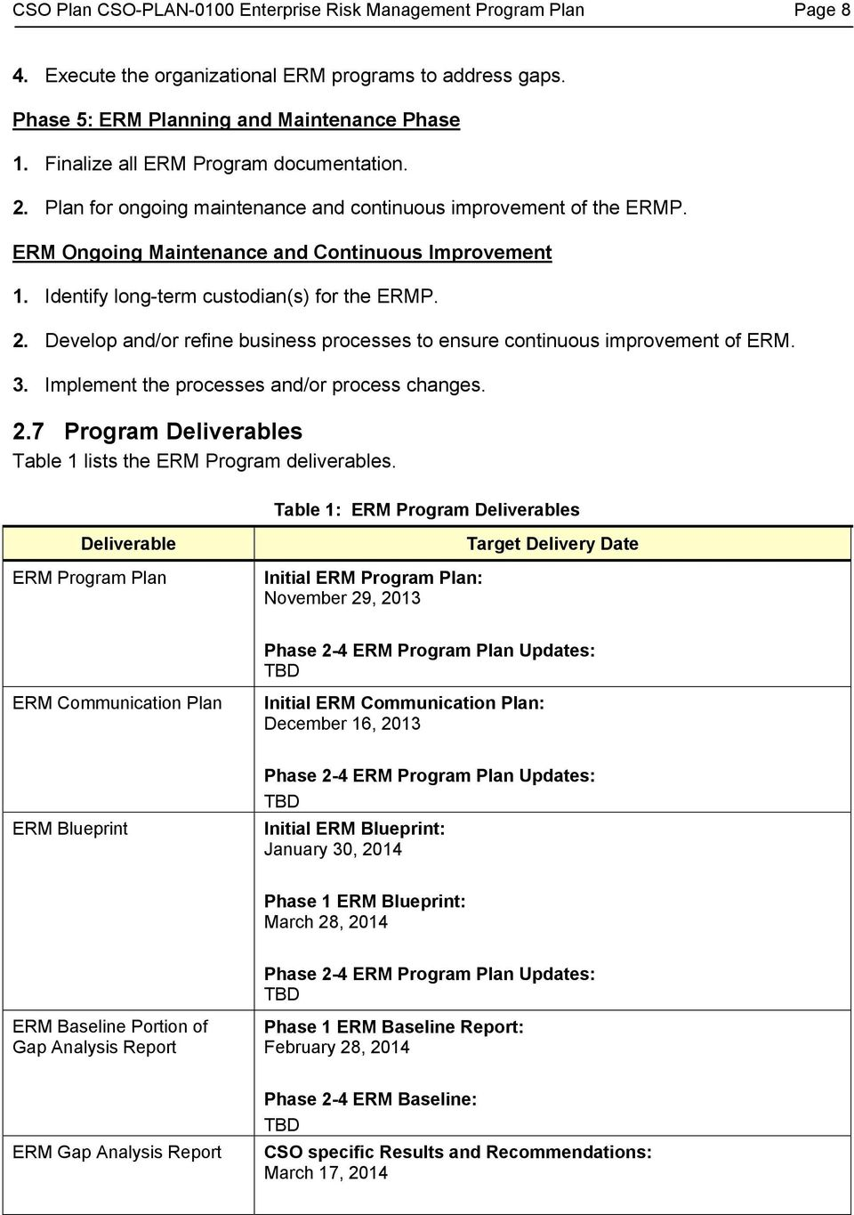 Identify long-term custodian(s) for the ERMP. 2. Develop and/or refine business processes to ensure continuous improvement of ERM. 3. Implement the processes and/or process changes. 2.7 Program Deliverables Table 1 lists the ERM Program deliverables.