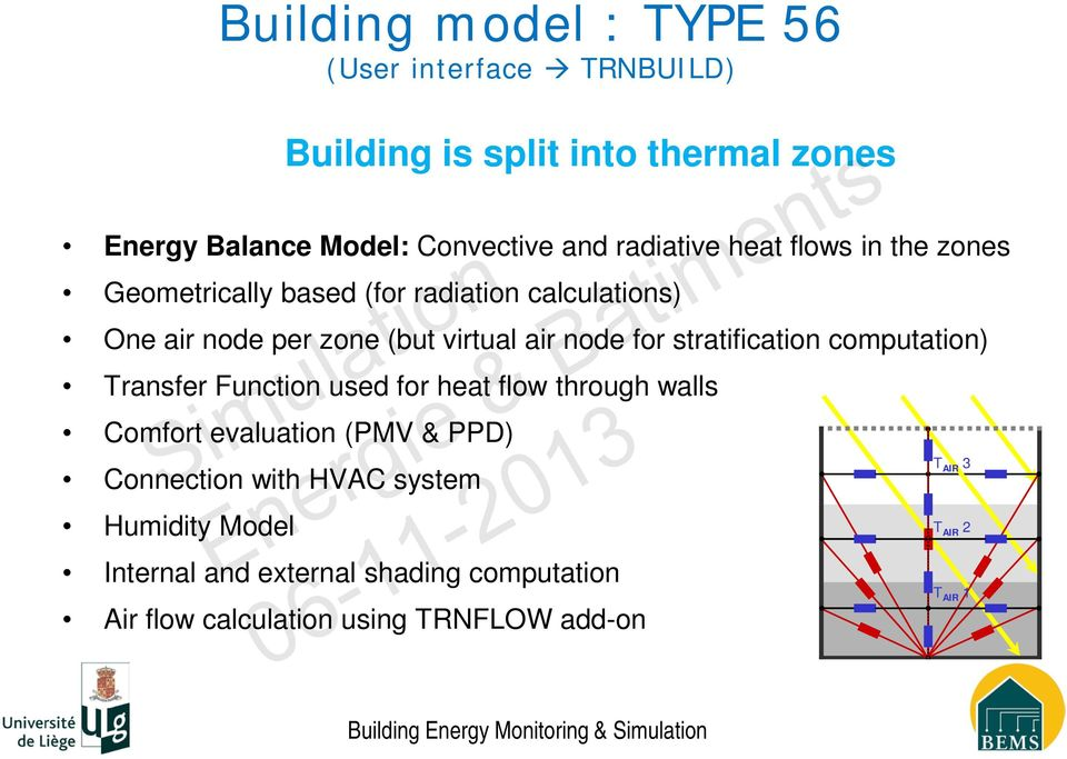 for heat flow through walls Comfort evaluation (PMV & PPD) Connection with HVAC system Humidity Model Building model : TYPE 56