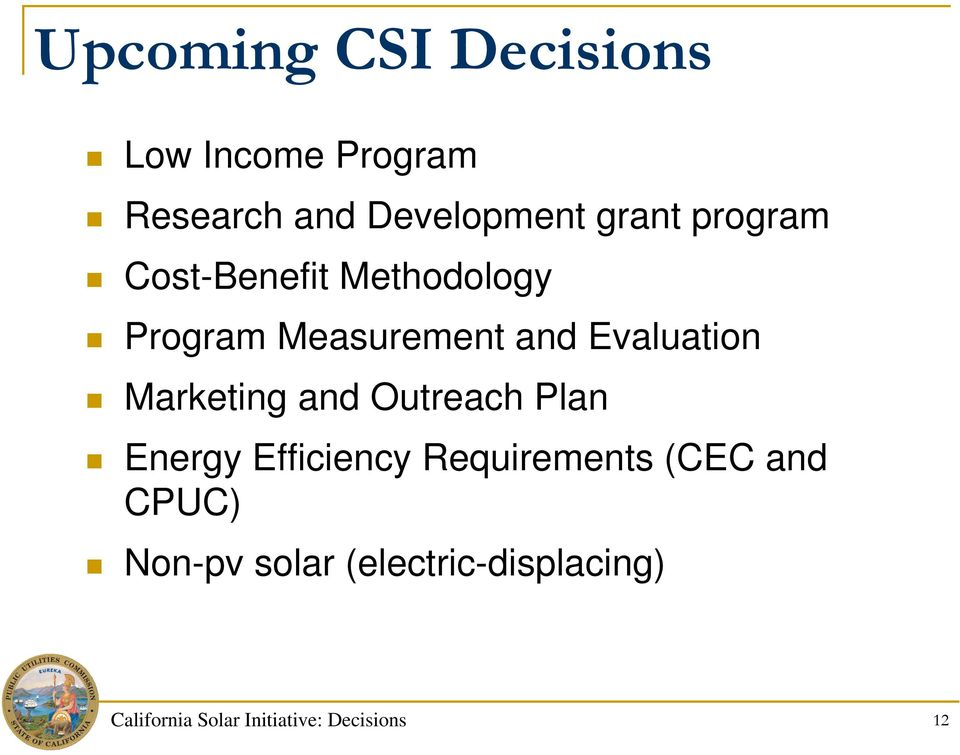Marketing and Outreach Plan Energy Efficiency Requirements (CEC and