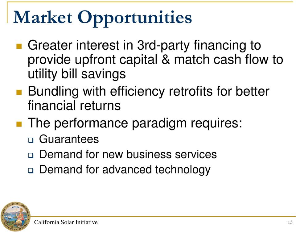 retrofits for better financial returns The performance paradigm requires: