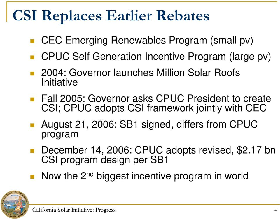 CSI framework jointly with CEC August 21, 2006: SB1 signed, differs from CPUC program December 14, 2006: CPUC adopts