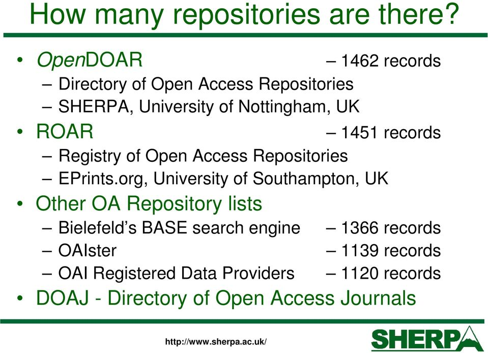 1451 records ROAR Registry of Open Access Repositories EPrints.