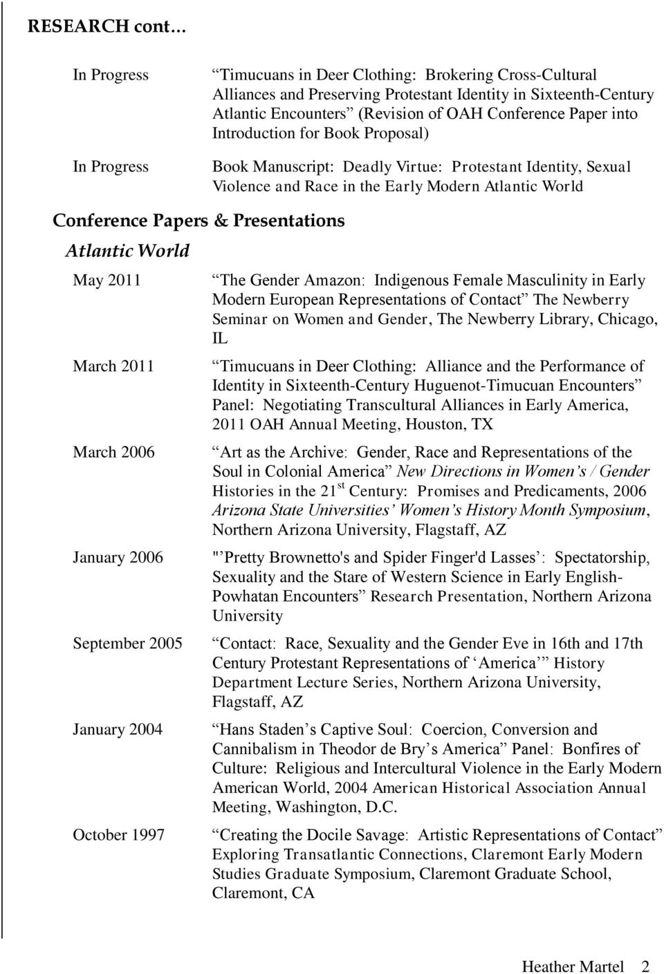 Presentations Atlantic World May 2011 March 2011 March 2006 January 2006 September 2005 January 2004 October 1997 The Gender Amazon: Indigenous Female Masculinity in Early Modern European