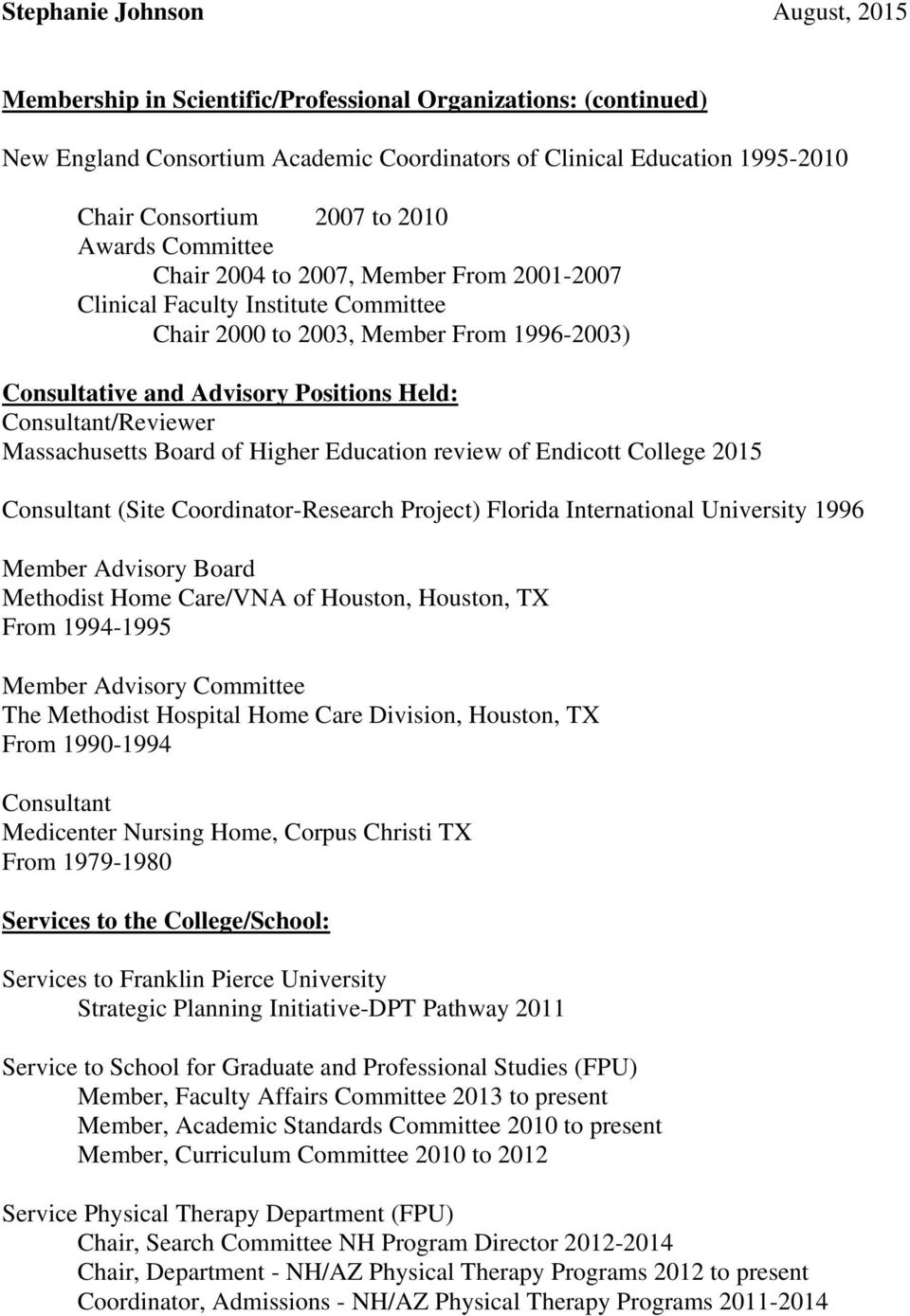Higher Education review of Endicott College 2015 Consultant (Site Coordinator-Research Project) Florida International University 1996 Member Advisory Board Methodist Home Care/VNA of Houston,