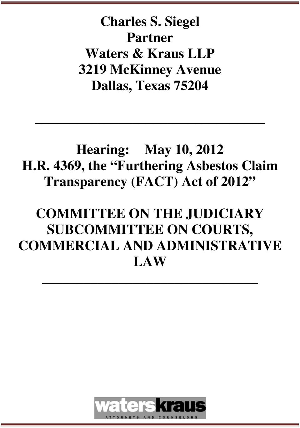 Texas 75204 Hearing: May 10, 2012 H.R.